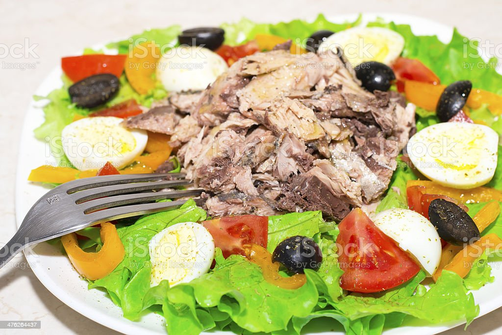 Tuna salad, olives, tomatoes, lettuce, eggs and olive oil royalty-free stock photo