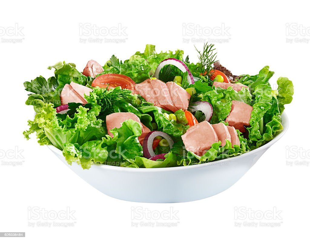 Tuna Salad (isolated with clipping path over white background) stock photo