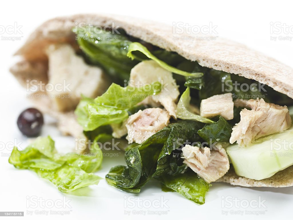 Tuna salad pita bread sandwich royalty-free stock photo