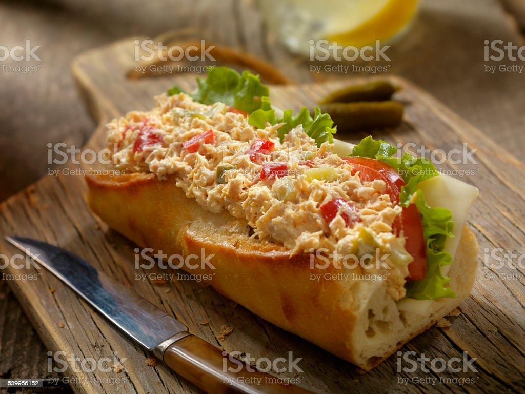Tuna Salad Sandwich on a baguette stock photo