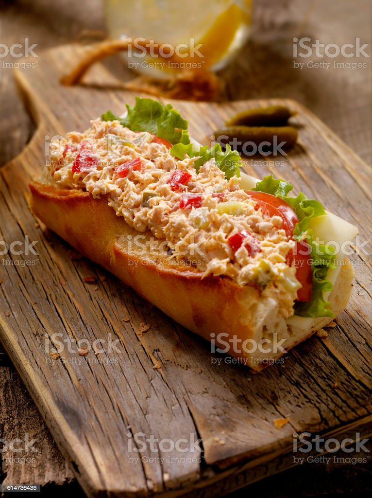 Tuna Salad Sandwich on a baguette stock photo