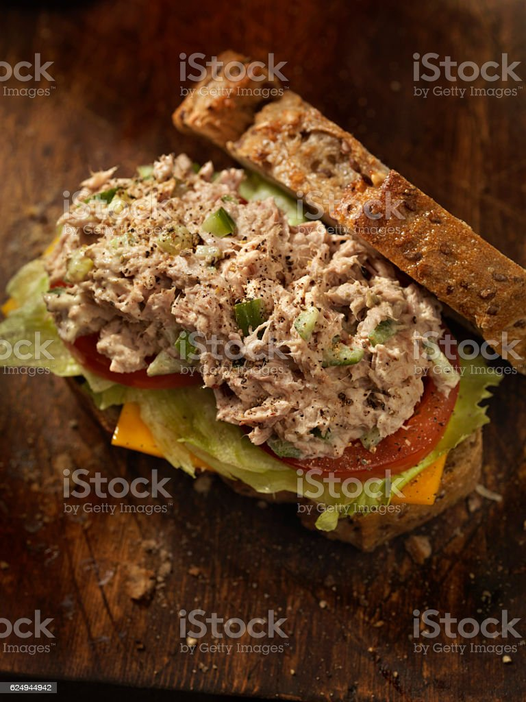 Tuna Salad Sandwich with Cheese, lettuce and Tomatoes stock photo