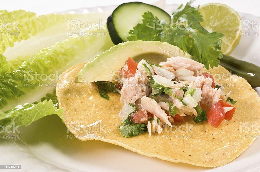 Tuna salad tostada royalty-free stock photo
