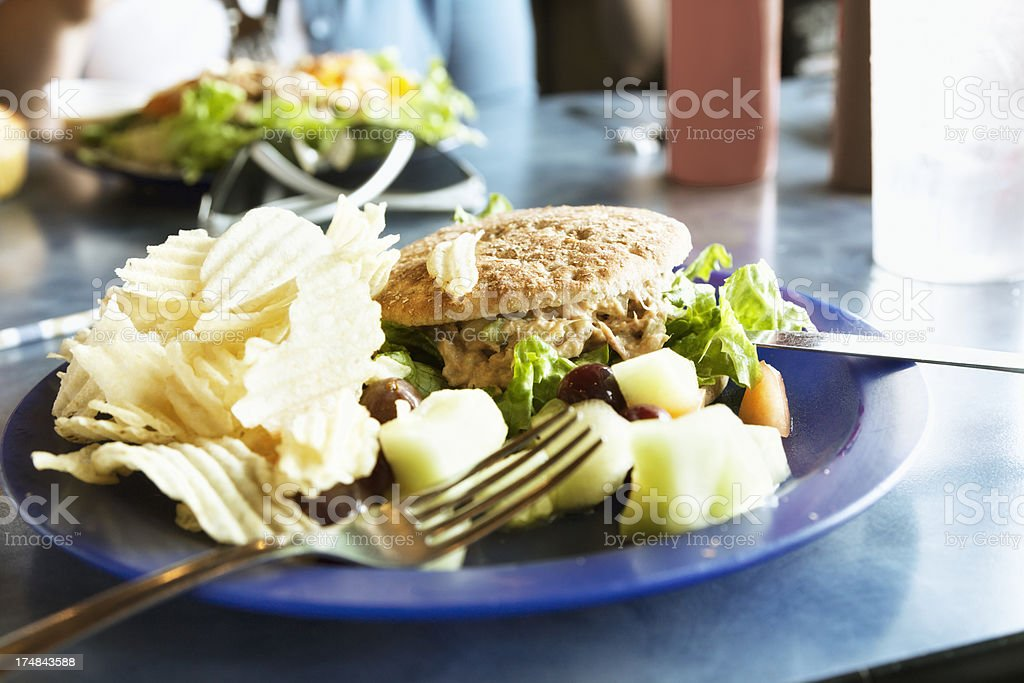 tuna sandwhich chips lunch royalty-free stock photo