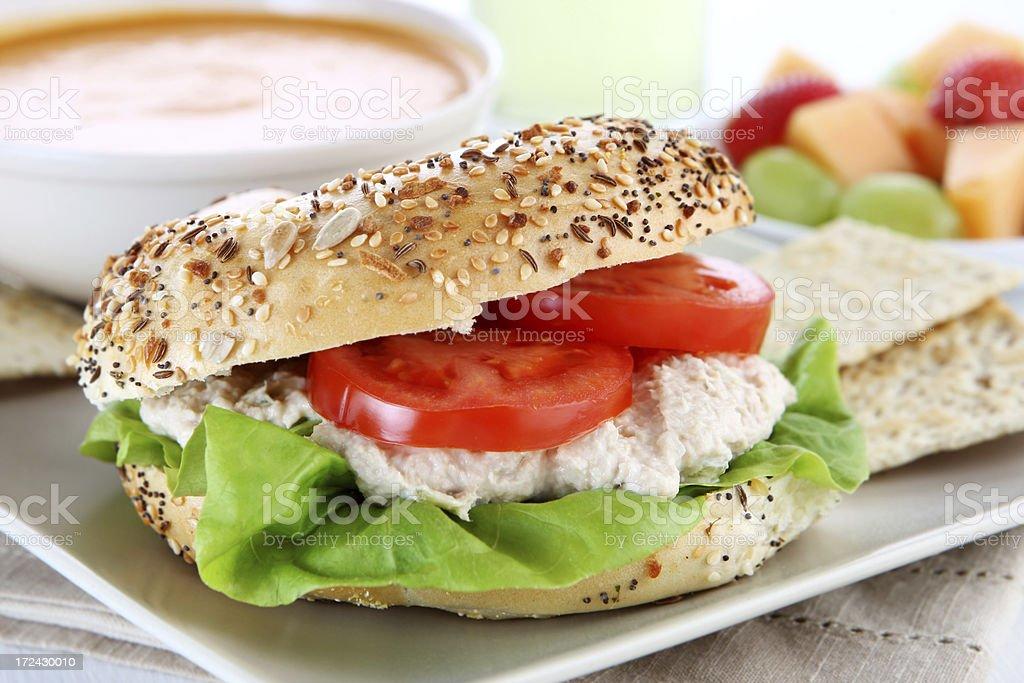 tuna sandwich and soup royalty-free stock photo