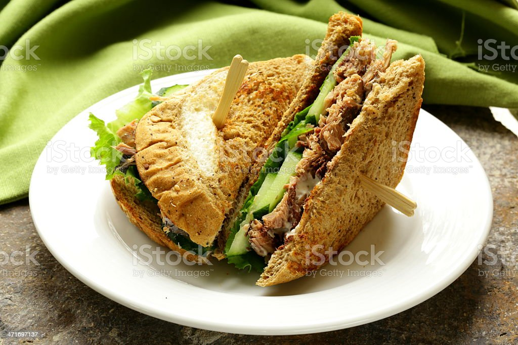 Tuna sandwich with cucumber and lettuce royalty-free stock photo