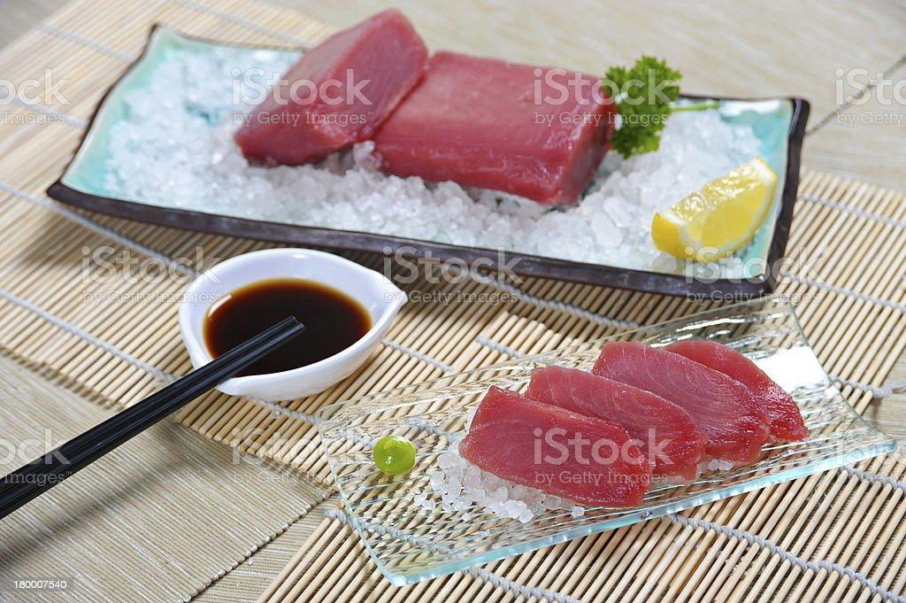 Tuna Sashimi freshly served with wasabi and soya sauce royalty-free stock photo