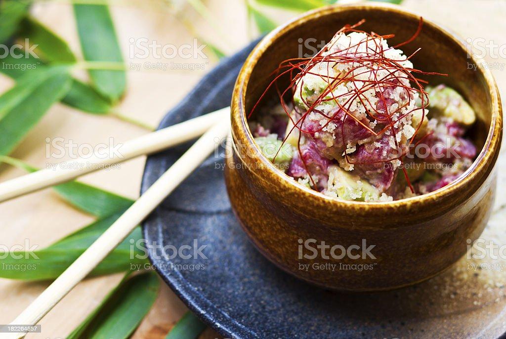 Tuna sashimi with avocado stock photo