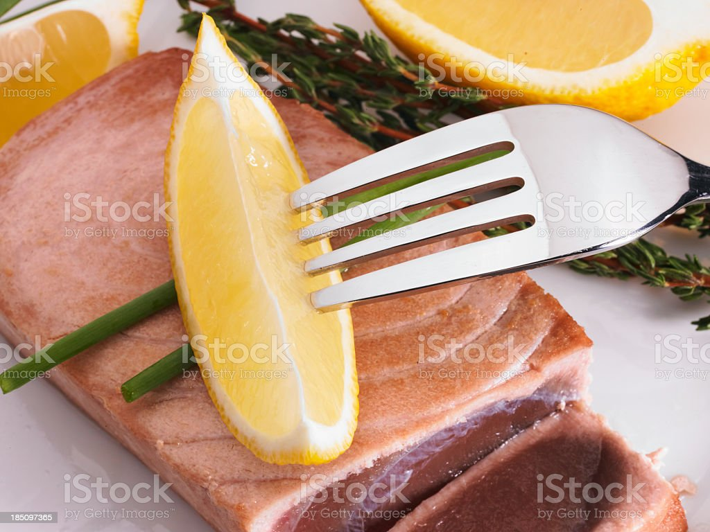 Tuna Steak and Lemon stock photo