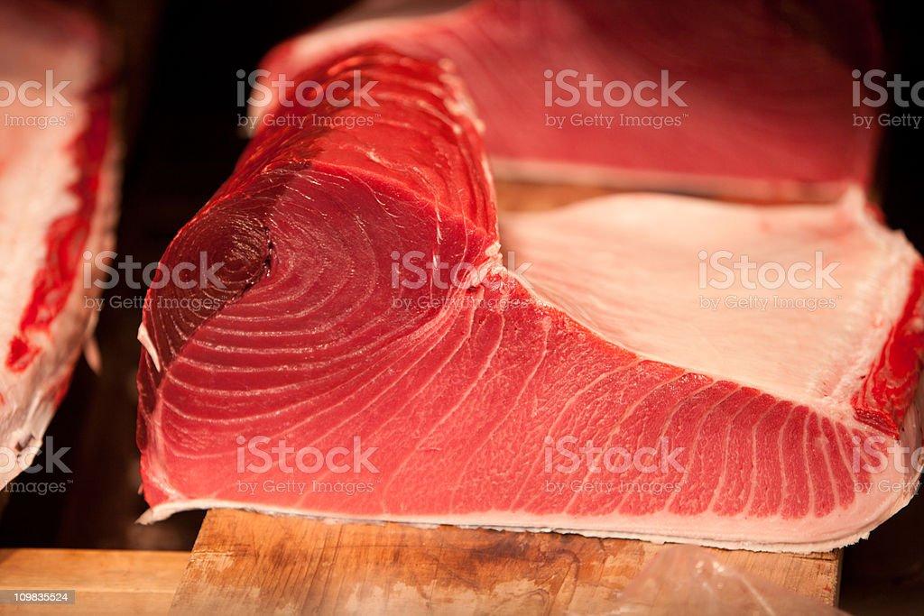 Tuna Steak at Tsukiji Market, Tokyo, Japan royalty-free stock photo
