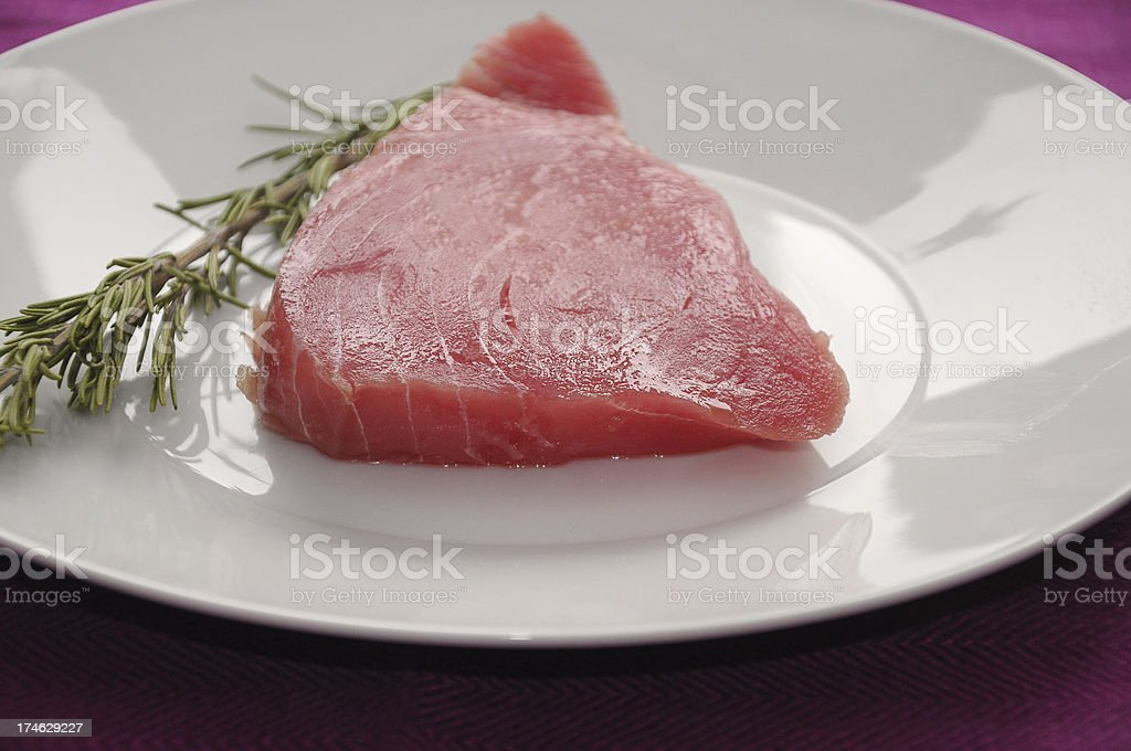 Tuna steak side view royalty-free stock photo