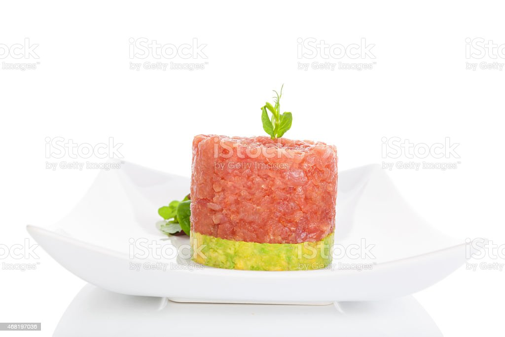 Tuna steak tartare. stock photo