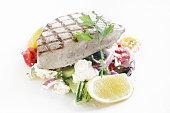 Tuna steak with greece salad