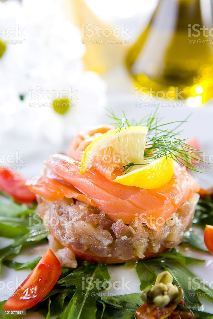 tuna steak with smoked salmon royalty-free stock photo