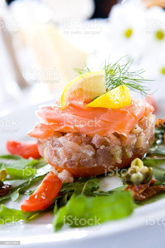 tuna steak with smoked salmon stock photo