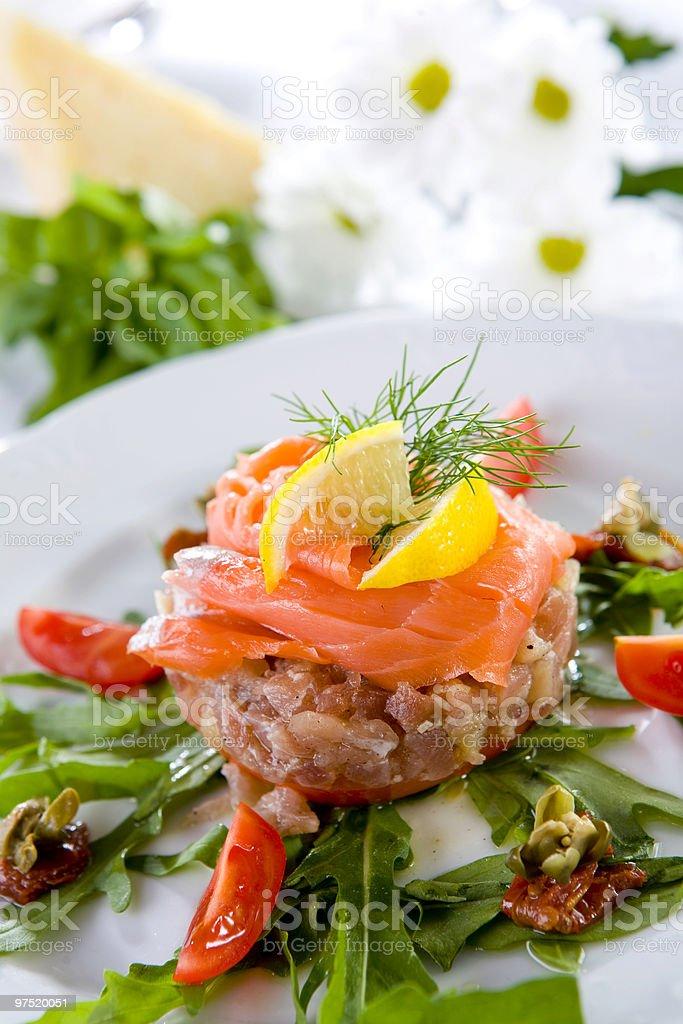 tuna steak with smoked salmon royalty-free stock photo