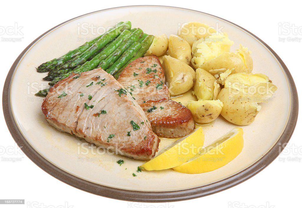 Tuna Steaks with Vegetables royalty-free stock photo