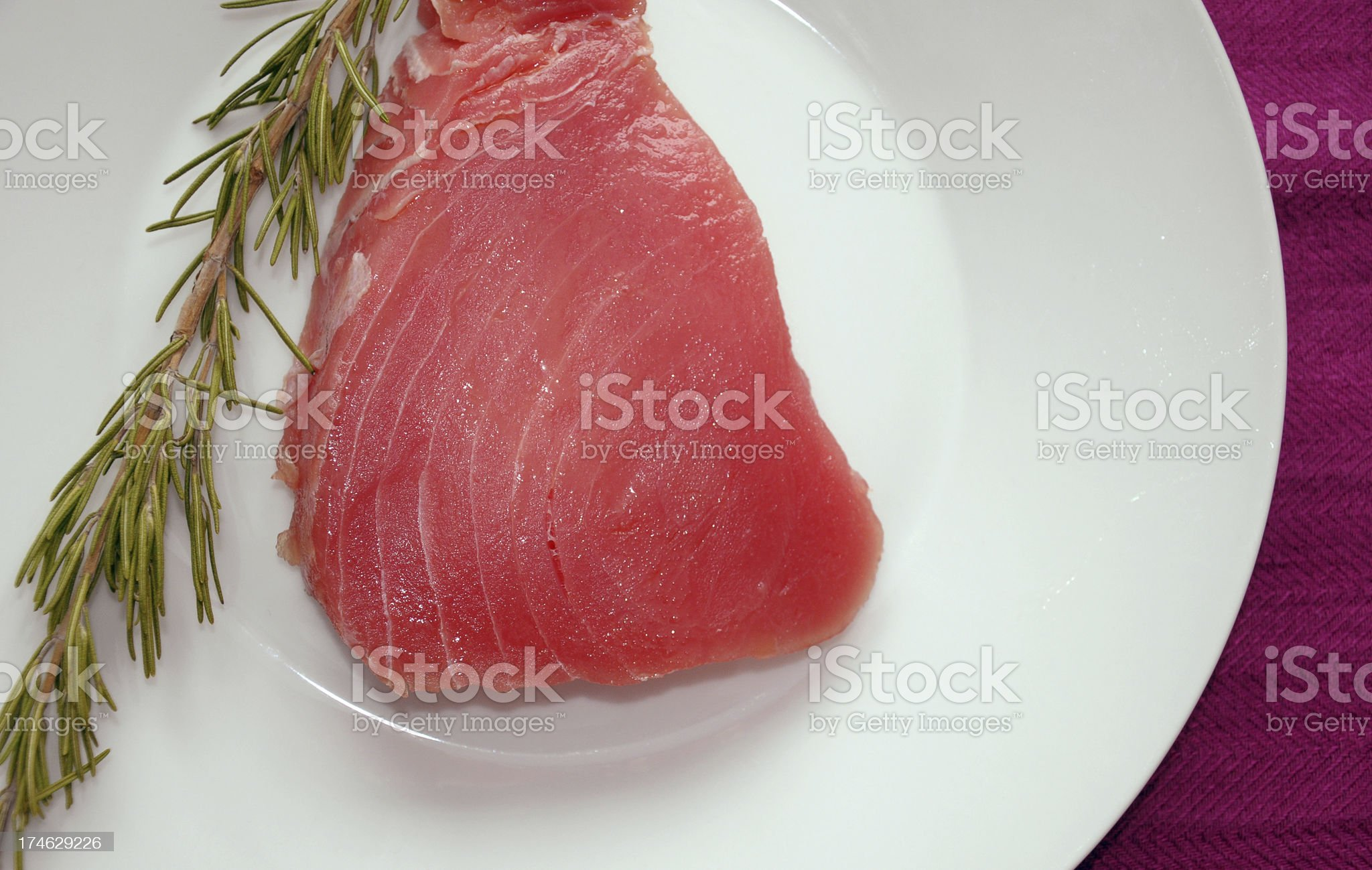 Tuna steak-top view royalty-free stock photo