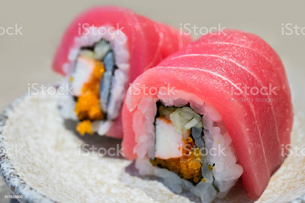 Tuna sushi with selective focus point stock photo