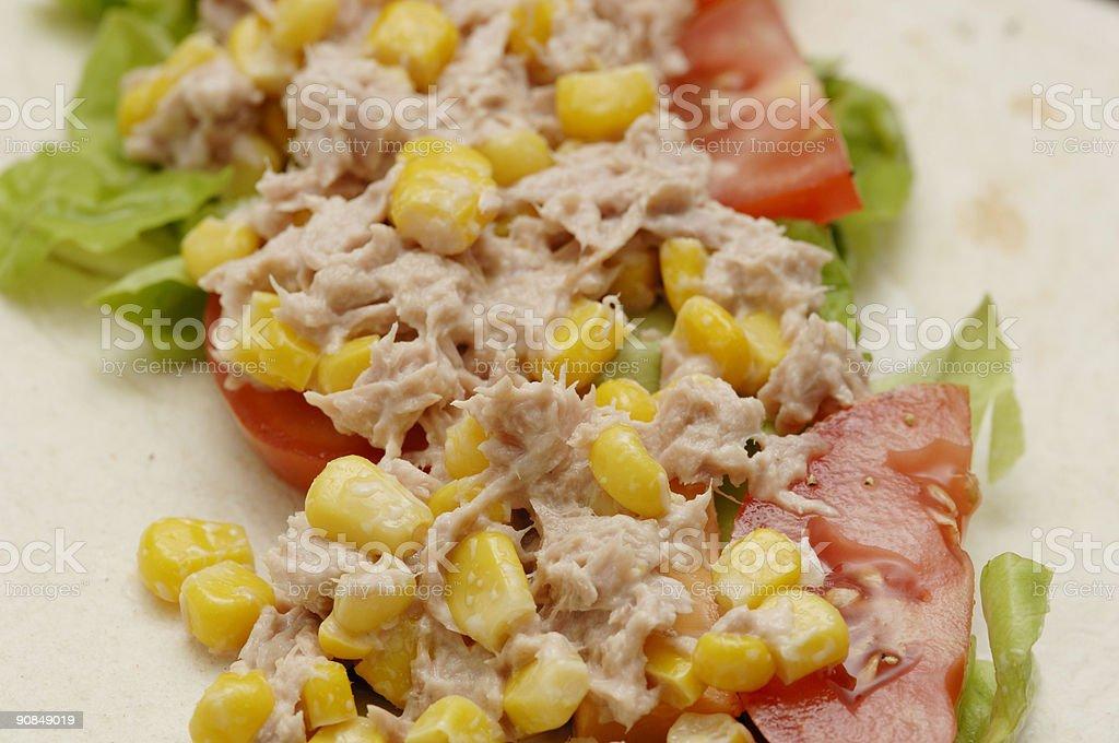Tuna, sweet corn salad soft tortilla wrap stock photo