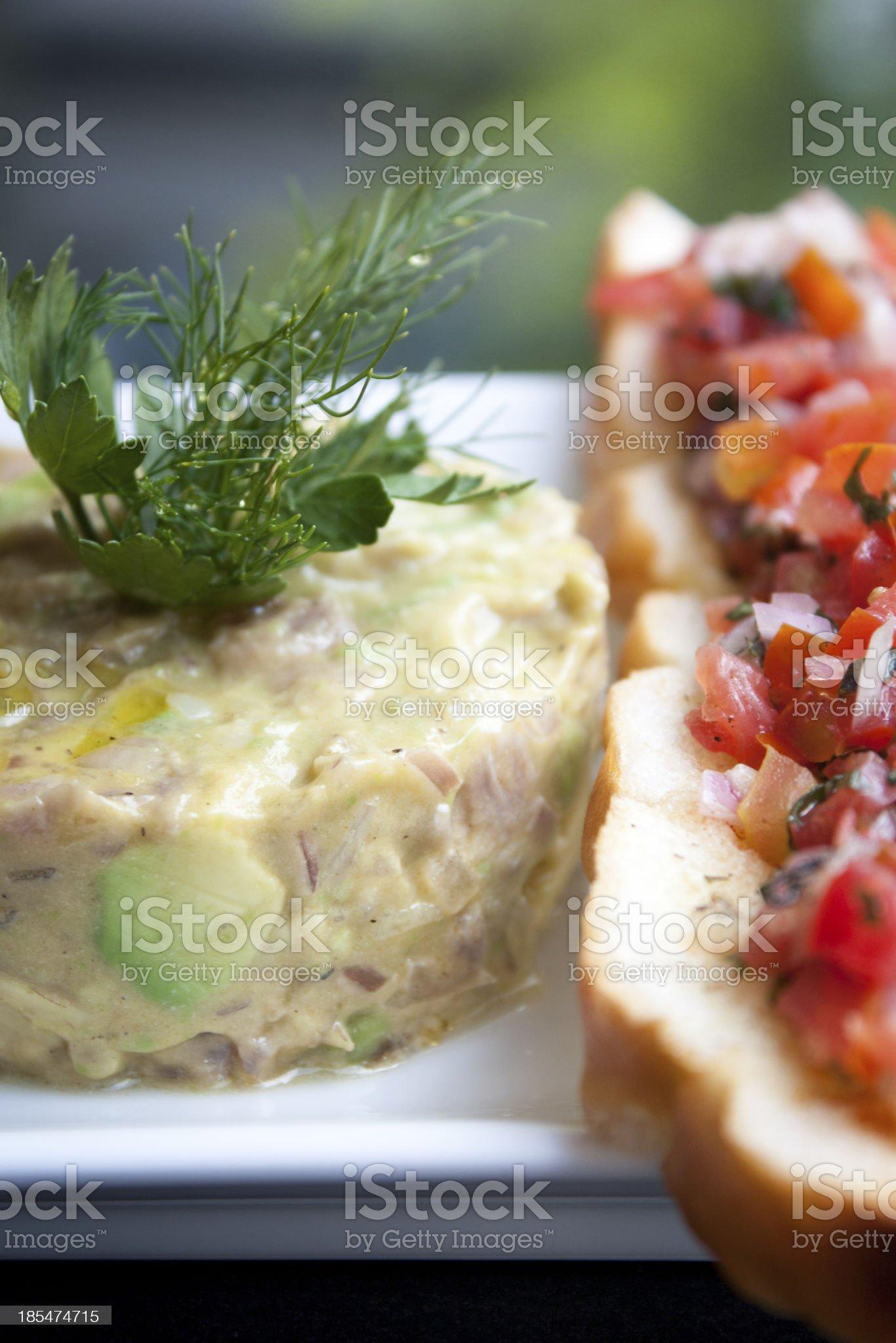 Tuna Tartar Wasabi with Avocados royalty-free stock photo