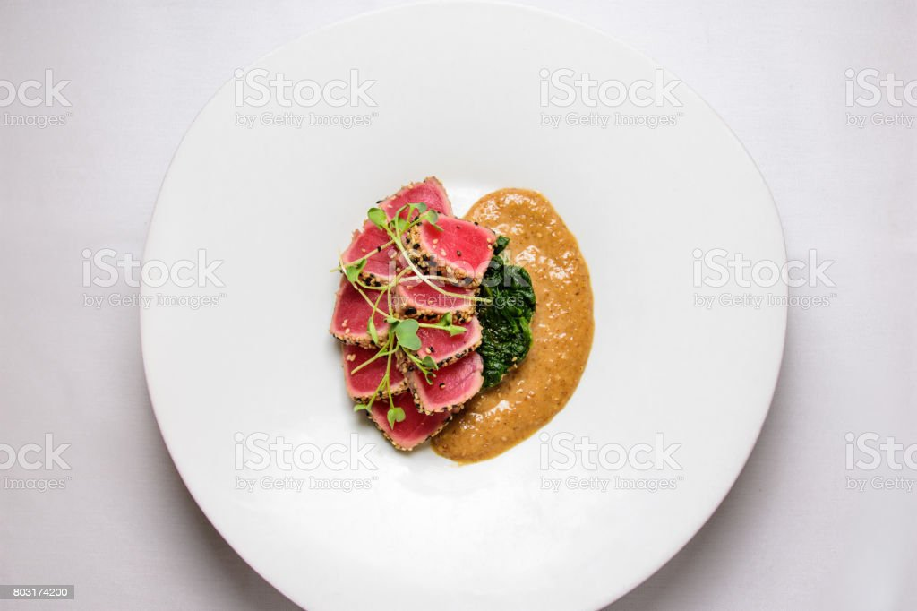 tuna tataki stock photo