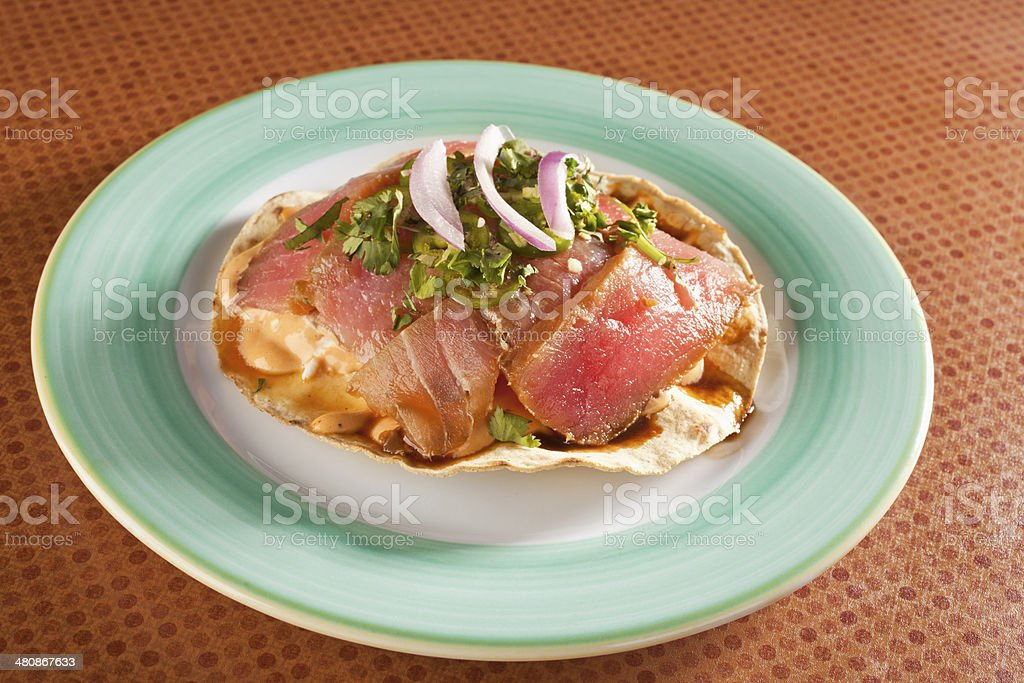 Tuna Tostada stock photo