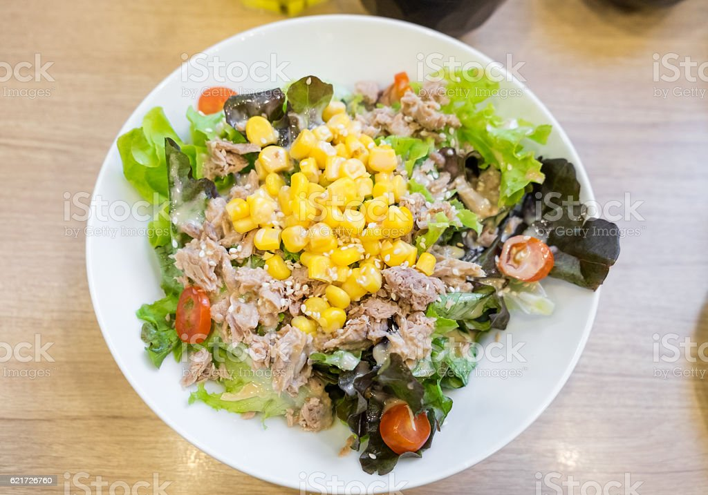 Tuna variety salad colorful on table stock photo