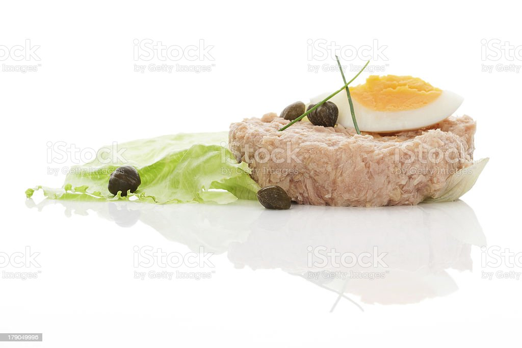 Tuna with eggs and salad isolated on white background. royalty-free stock photo