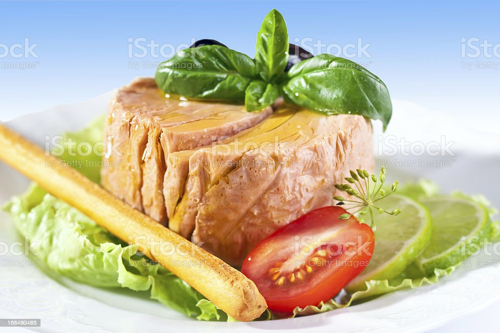 Tuna with olive oil royalty-free stock photo