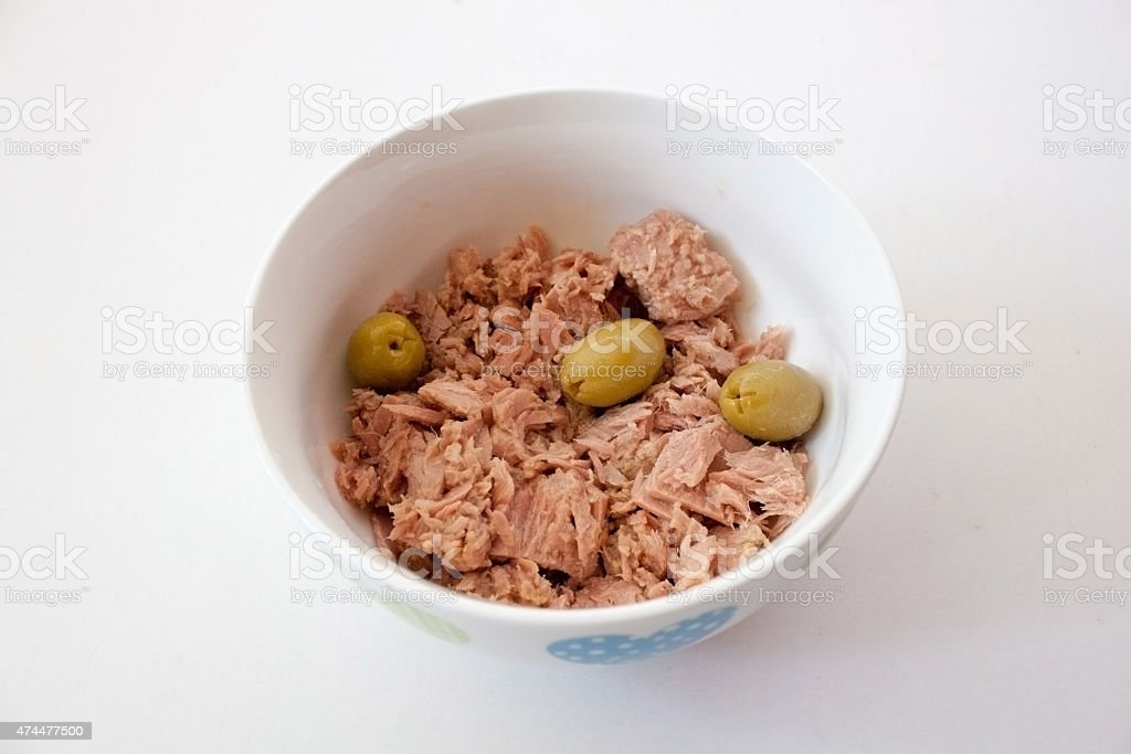 Tuna with olives stock photo