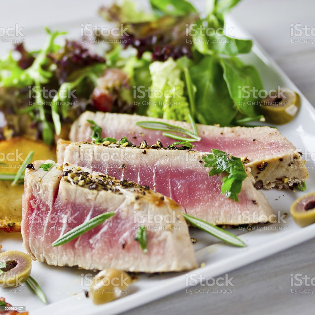 tuna with salad stock photo