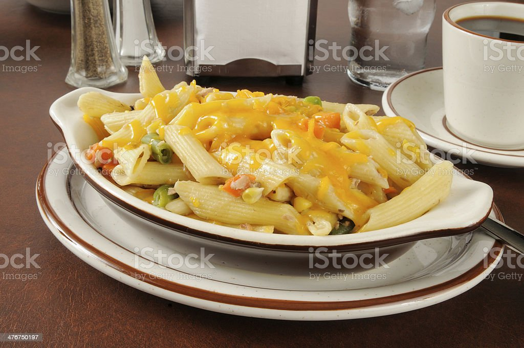 Tunafish casserole with cheddar cheese royalty-free stock photo