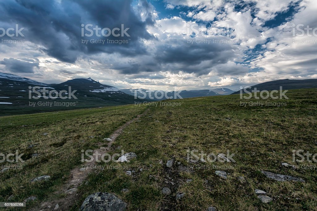 Tundra landscape in Northern Sweden stock photo