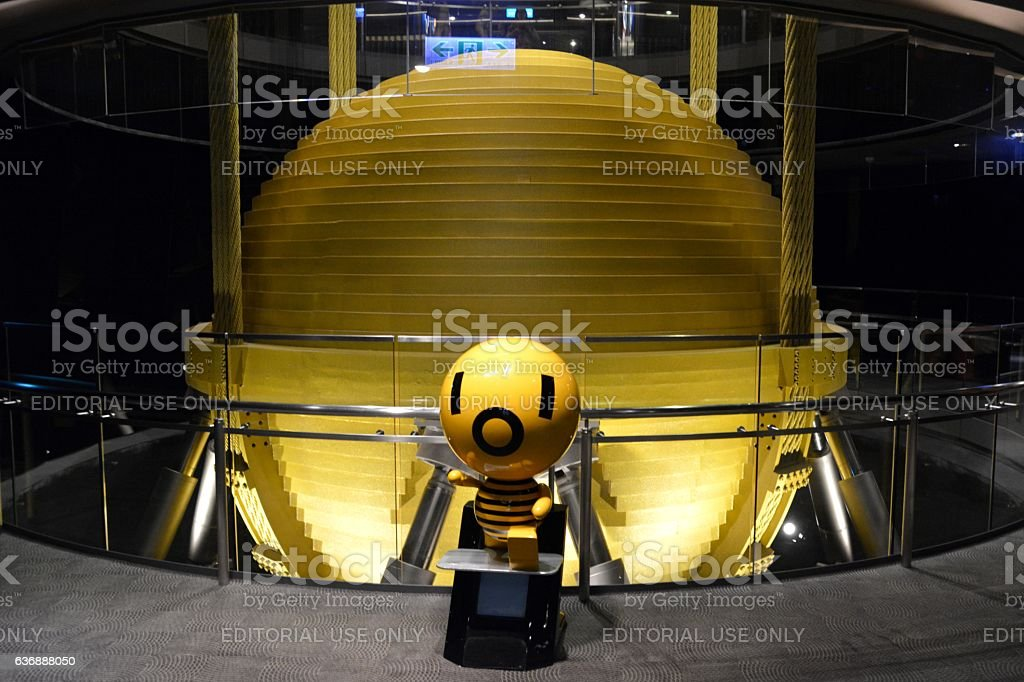 Tuned mass damper, Taipei 101 skyscraper, Taiwan stock photo