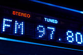 FM tuner radio display. Stereo digital frequency station tuned.
