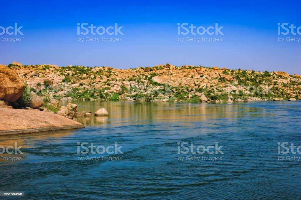 Tungabhadra River in Hampi, India stock photo