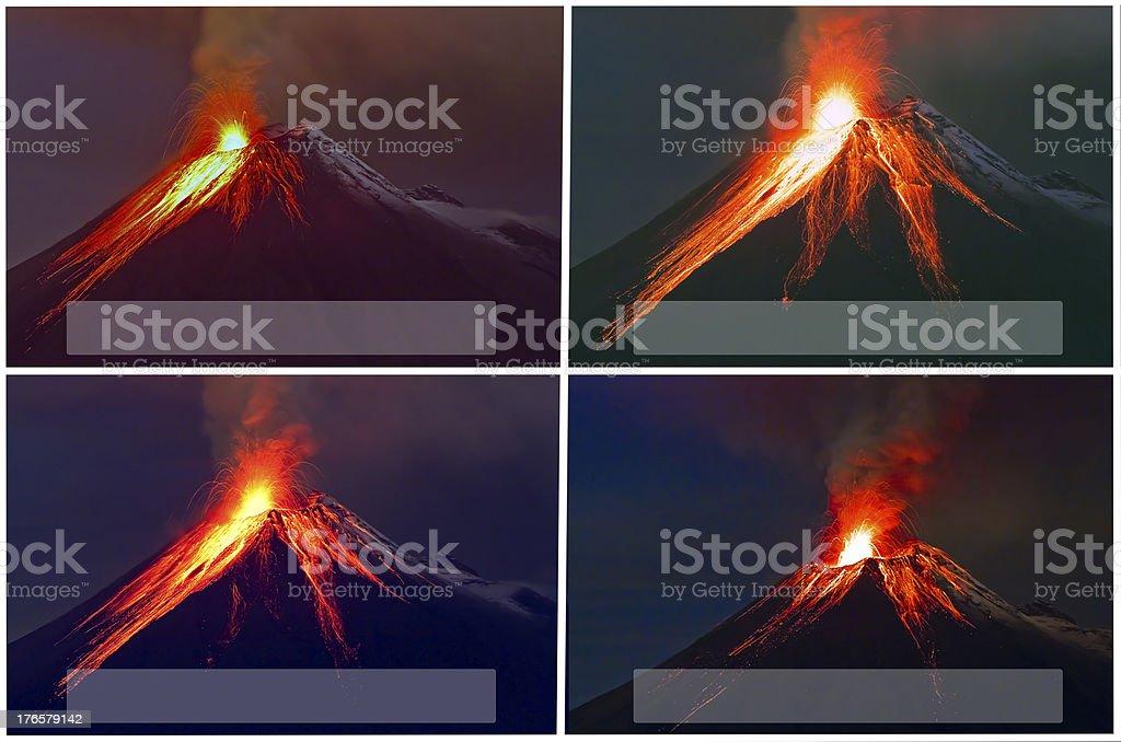 Tungurahua Volcano eruption collage royalty-free stock photo