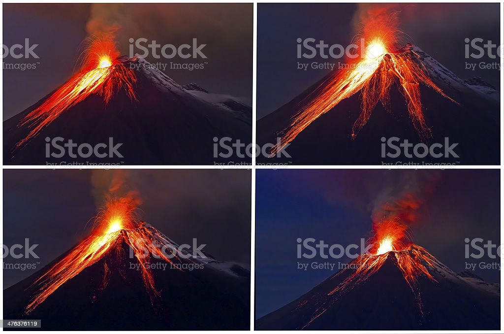 Tungurahua Volcano eruption collage royalty-free stock photo