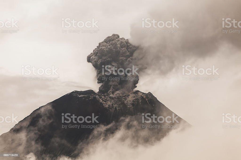 Tungurahua Volcano, Intense Activity At Sunset stock photo