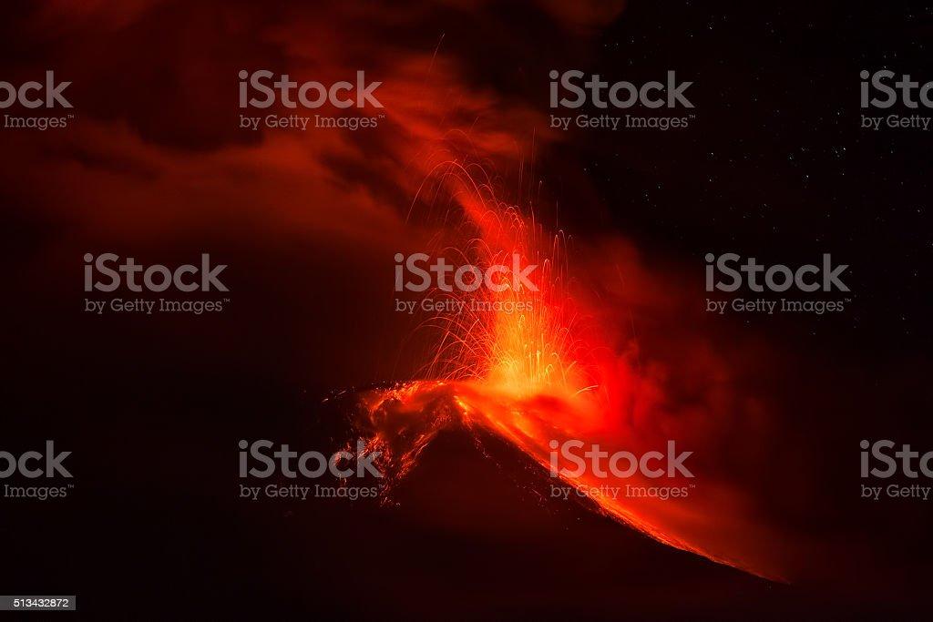 Tungurahua Volcano Spews Lava And Ash stock photo