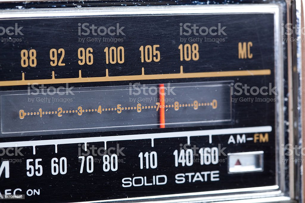 XXXL Tuning Display Part of Vintage AM/FM Radio stock photo