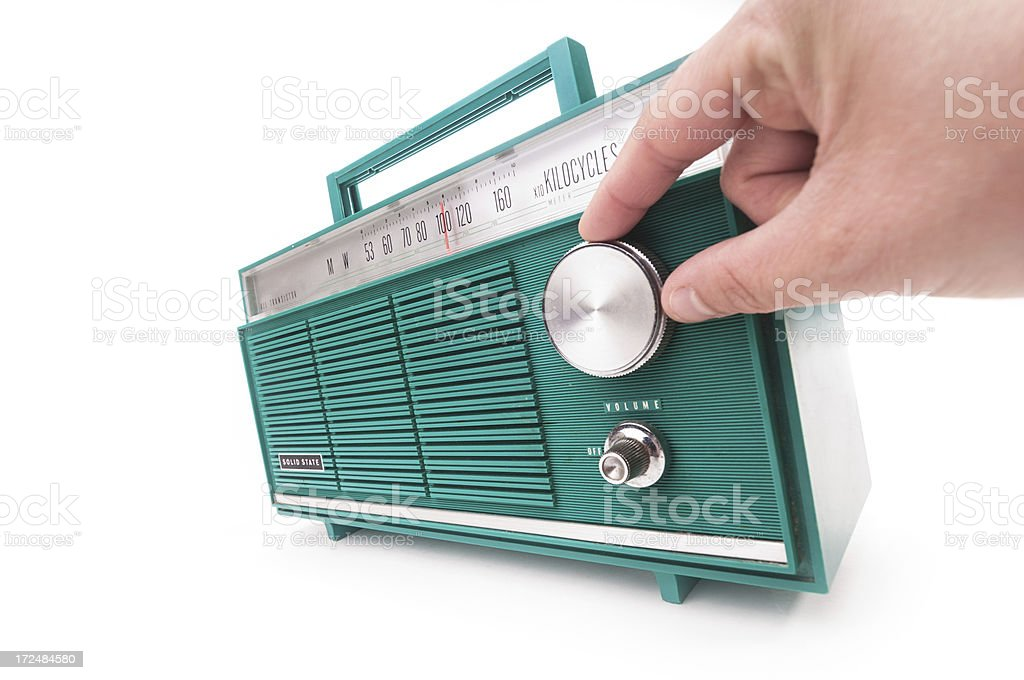 Tuning into Radio Station stock photo