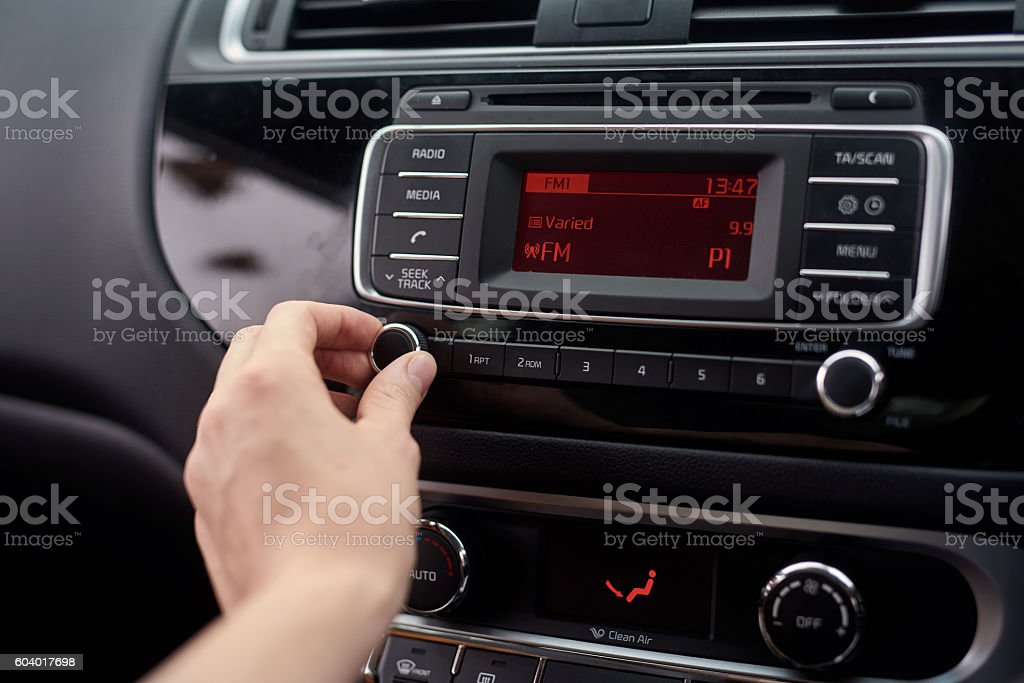 Tuning the stereo stock photo