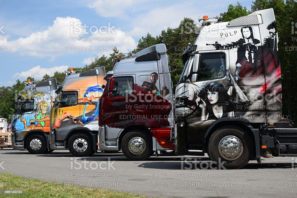 Tuning trucks on the motor show stock photo