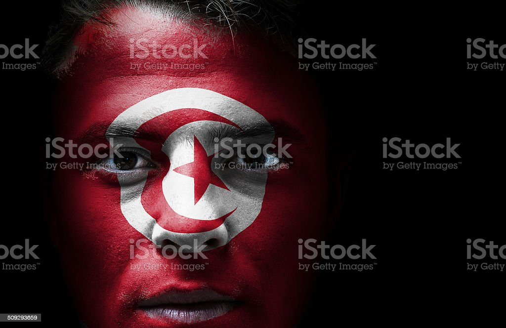 Tunisia flag on face stock photo