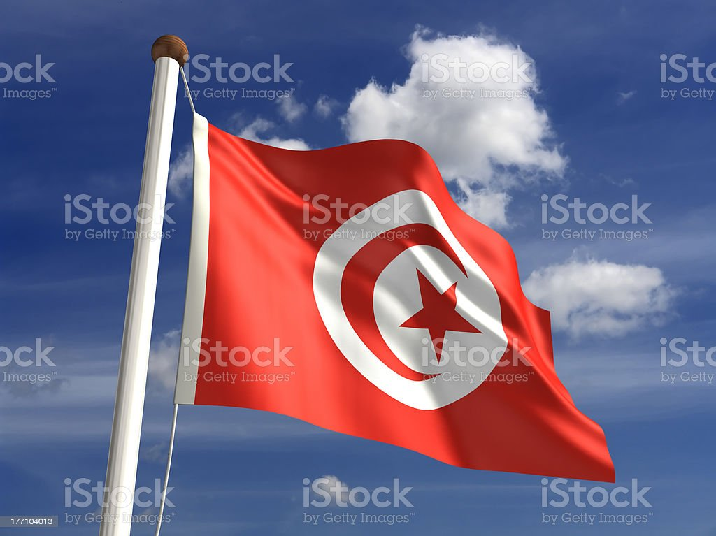 Tunisia flag (with clipping path) stock photo