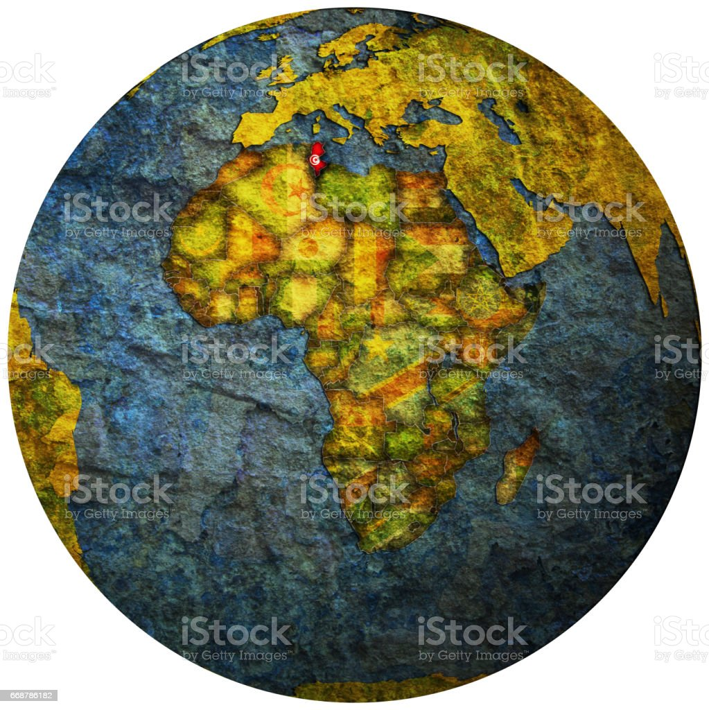 tunisia territory with flag on map of globe stock photo