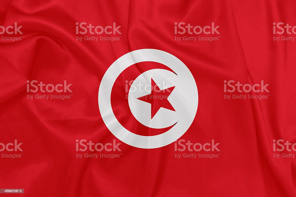 Tunisia - Waving national flag on silk texture stock photo