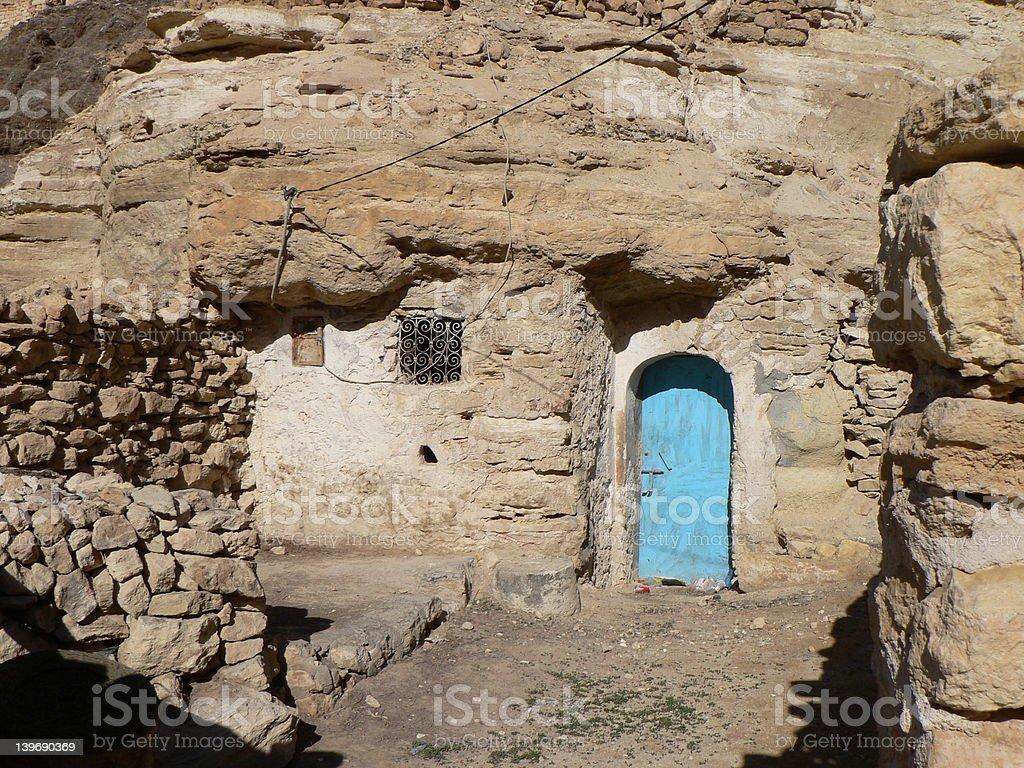 Tunisian blue door royalty-free stock photo